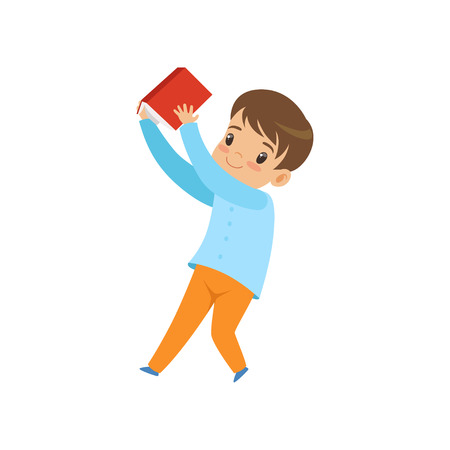Cute liitle boy with book, kid playing and learning vector Illustration isolated on a white background.