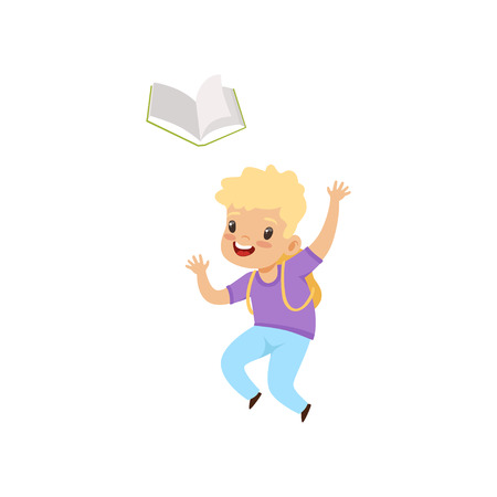 Smiling little boy jumping with book, elementary school student playing and learning vector Illustration isolated on a white background.