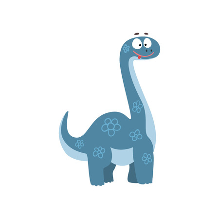 Cute cartoon brontosaurus dinosaur, prehistoric dino character vector Illustration isolated on a white background.