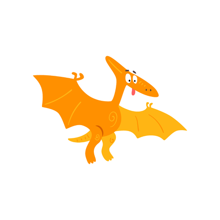 Cute cartoon pteranodon dinosaur, prehistoric dino character vector Illustration isolated on a white background.