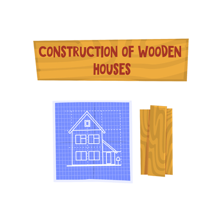 Construction of wooden house, eco building, design element can be used for advertisement poster or banner vector Illustration isolated on a white background. Stock Illustratie
