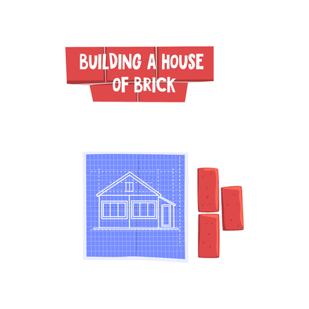 Construction of brick house, design element can be used for advertisement poster or banner vector Illustration on a white background