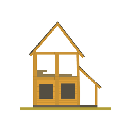 Construction of wooden house process, eco building vector Illustration on a white background