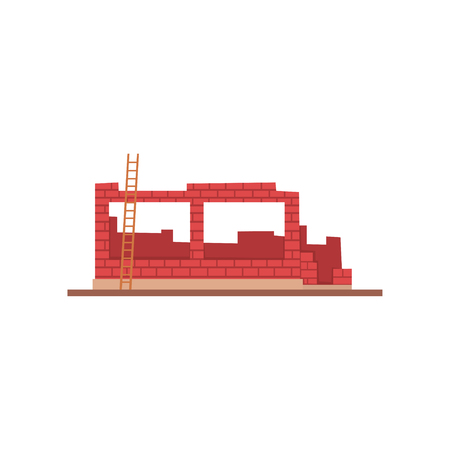 Construction of brick house, residential house building process vector Illustration on a white background