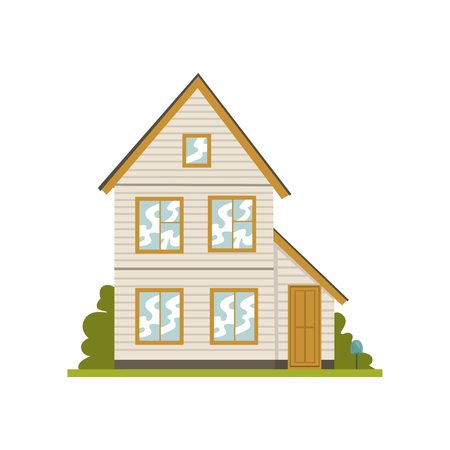 Facade of two story building, real estate vector Illustration on a white background