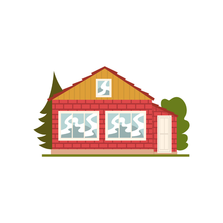 Brick house facade with windows, real estate vector Illustration on a white background