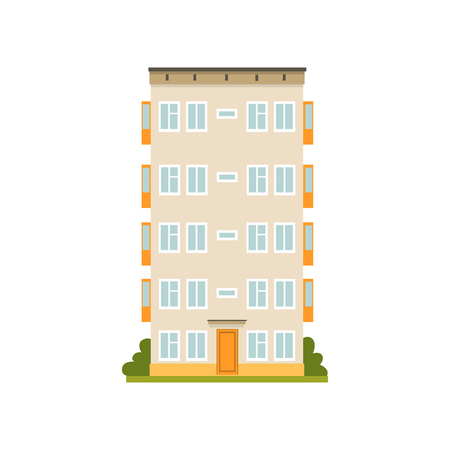 Multi storey panel house facade, urban architecture and city construction vector Illustration on a white background Illustration