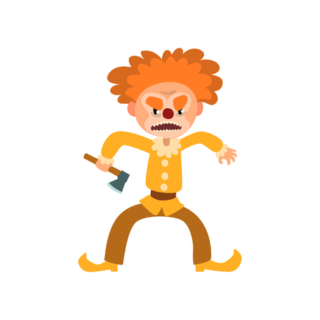 Angry red haired clown cartoon character, halloween clown with evil eyes holding axe vector Illustration isolated on a white background.