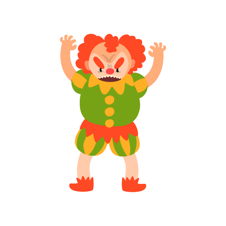 Angry red haired clown standing with arms raised, Halloween cartoon character vector Illustration isolated on a white background. Illustration