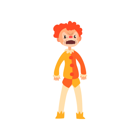 Angry red haired clown cartoon character, man in Halloween costume vector Illustration isolated on a white background. Çizim
