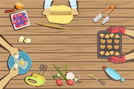 Dzieci rzemiosło i lekcja gotowania dwie ilustracje z widocznymi tylko rękami z góry stołu. Lekcja sztuki dla dzieci praca w zespołach kolorowy kreskówka wektor ładny obrazki.