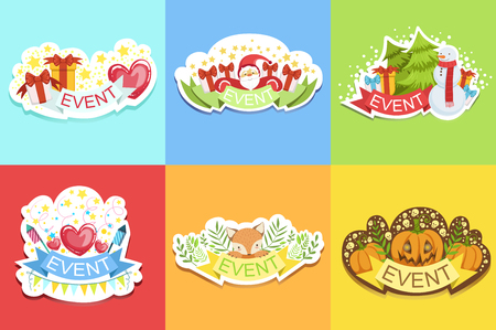 Party Template Labels . Set Of Cute Childish Design Colorful Vector Stickers
