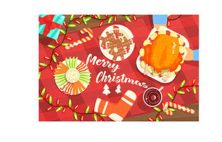 Merry Christmas Colorful Illustration With Classic Holiday Symbols Collection. Christmas Dinner Classic Elements View From Above Drawing In Bright Colors. Illustration