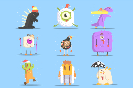 Winter Dressed Monsters in Funny Situations. Funky Creatures Colorful Characters With Winter Attributes On Blue Background.
