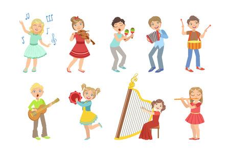 Bambini che cantano e suonano strumenti musicali insieme di illustrazioni di design semplice in stile cartone animato divertente carino isolato su sfondo bianco Vettoriali