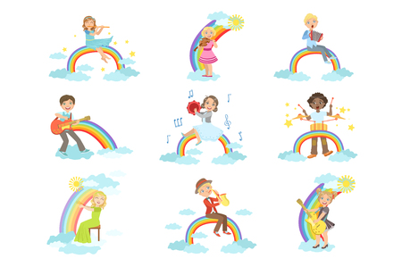 Kids Playing Music Instruments With Rainbow And Clouds Decoration Set Of Simple Design Illustrations In Cute Fun Cartoon Style On White Background