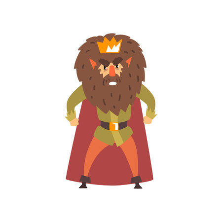 Angry bearded king character cartoon vector Illustration isolated on a white background. Иллюстрация