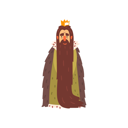 Majestic king character with long beard cartoon vector Illustration isolated on a white background.