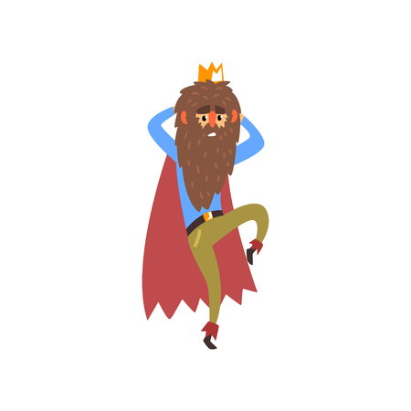Funny bearded king character in modern clothes cartoon vector Illustration isolated on a white background.