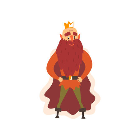 Funny bald majestic king character cartoon vector Illustration isolated on a white background.