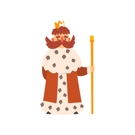 Funny king character wearing ermine mantle cartoon vector Illustration isolated on a white background.