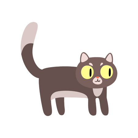 Gray funny cat cartoon character vector Illustration isolated on a white background.
