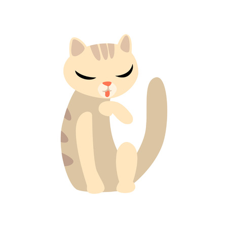 Graceful cat cartoon character vector Illustration isolated on a white background. Иллюстрация