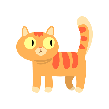 Cute red cat cartoon character vector Illustration isolated on a white background.