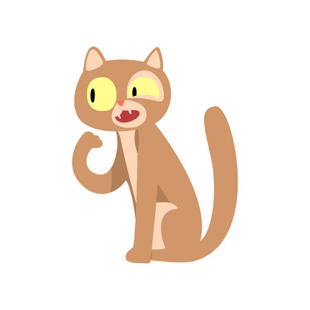 Cute funny cat cartoon character vector Illustration isolated on a white background.