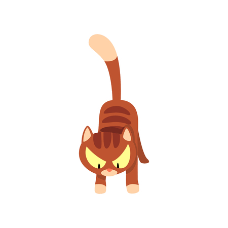 Angry brown striped cat cartoon character vector Illustration isolated on a white background.