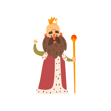 Funny bald bearded majestic king character cartoon vector Illustration isolated on a white background. Иллюстрация