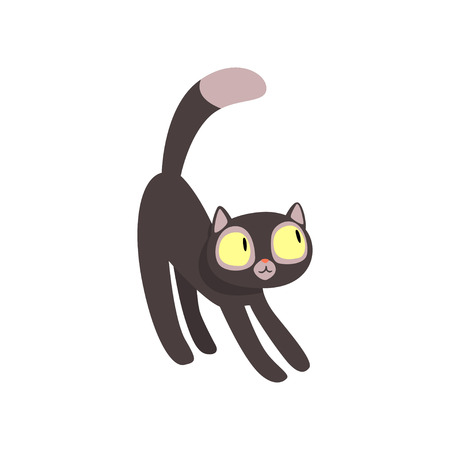 Black funny cat cartoon character vector Illustration isolated on a white background.