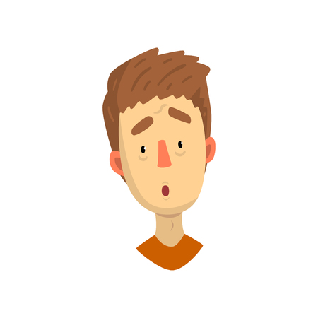 Emotional face of young man, surprised facial expression vector Illustration isolated on a white background. Ilustrace