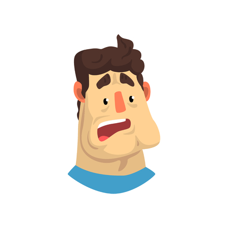 Face of surprised or frightened man, male emotional facial expression vector Illustration isolated on a white background.