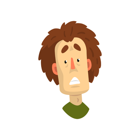 Face of shocked or frightened man, male emotional facial expression vector Illustration isolated on a white background.