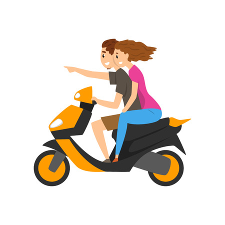 Young couple travelling by scooter vector Illustration isolated on a white background.