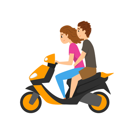 Young man and woman riding scooter, couple in love on motorbike vector Illustration isolated on a white background.  イラスト・ベクター素材