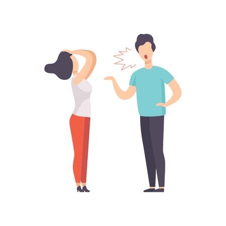 Uomo arrabbiato che grida alla giovane donna, coppia che litiga, conflitto familiare, disaccordo nel vettore di relazione illustrazione isolato su sfondo bianco.