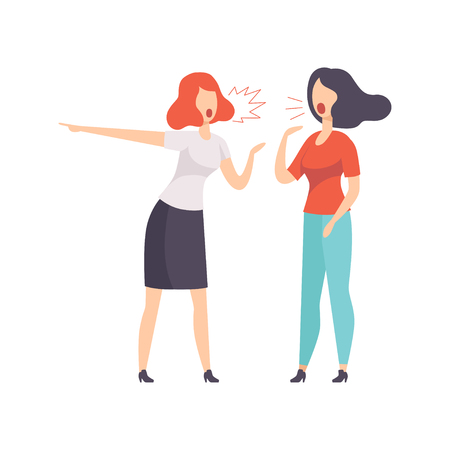 Two young women quarrelling vector Illustration isolated on a white background.