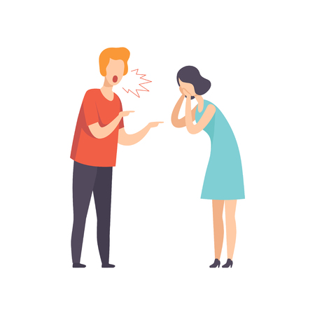 Angry man screaming at crying woman, couple quarreling, family conflict, disagreement in relationship vector Illustration isolated on a white background.