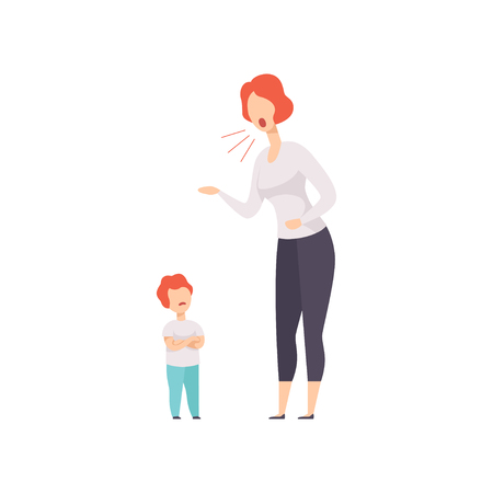 Mom scolding at her son, young woman yelling at child vector Illustration isolated on a white background. Ilustração