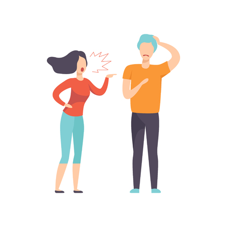 Angry woman screaming at young man, couple quarreling, family conflict, disagreement in relationship vector Illustration isolated on a white background. Illusztráció