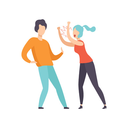 Furious woman screaming at young man, couple quarreling, family conflict, disagreement in relationship vector Illustration isolated on a white background.