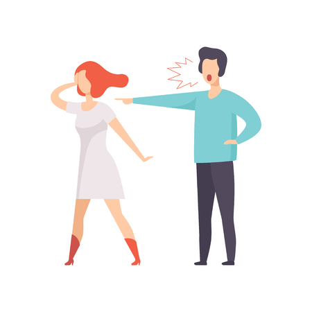 Angry man screaming at young woman, couple quarreling, family conflict, disagreement in relationship vector Illustration isolated on a white background.
