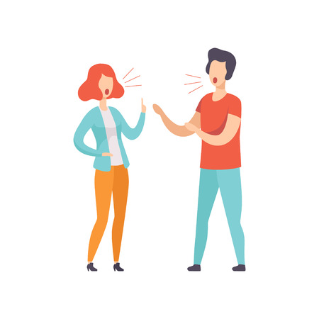 Young couple quarreling, family conflict, disagreement in relationship vector Illustration isolated on a white background.