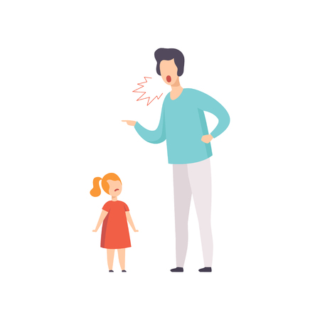Dad scolding at his daughter, young man yelling at child vector Illustration isolated on a white background.