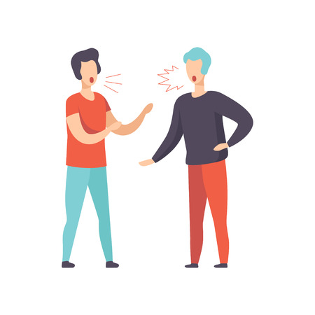 Two young men quarreling, aggressive and violent behavior vector Illustration isolated on a white background.