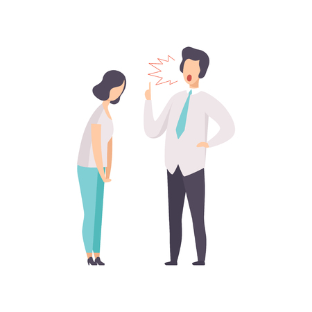 Angry male boss yelling at female employee vector Illustration isolated on a white background. Ilustração