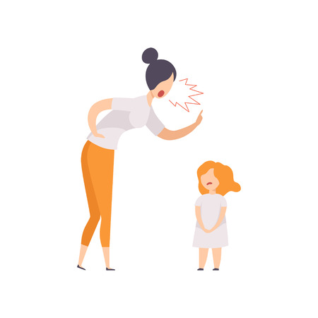 Mom scolding at her daughter, young woman yelling at child vector Illustration isolated on a white background. Ilustração