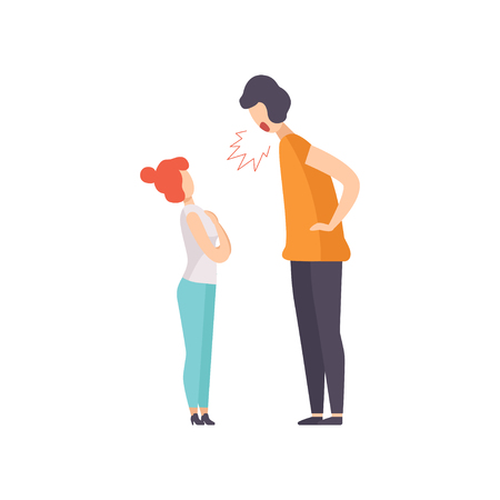 Angry man screaming at frightened woman, couple quarreling, family conflict, disagreement in relationship vector Illustration isolated on a white background. Illustration